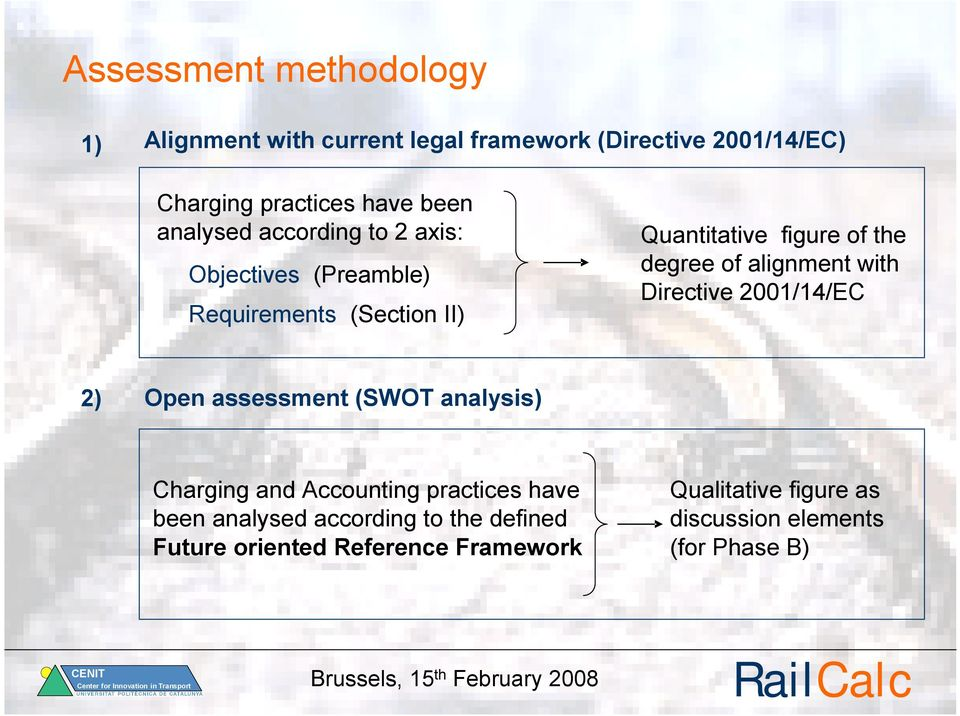 alignment with Directive 2001/14/EC 2) Open assessment (SWOT analysis) Charging and Accounting practices have been