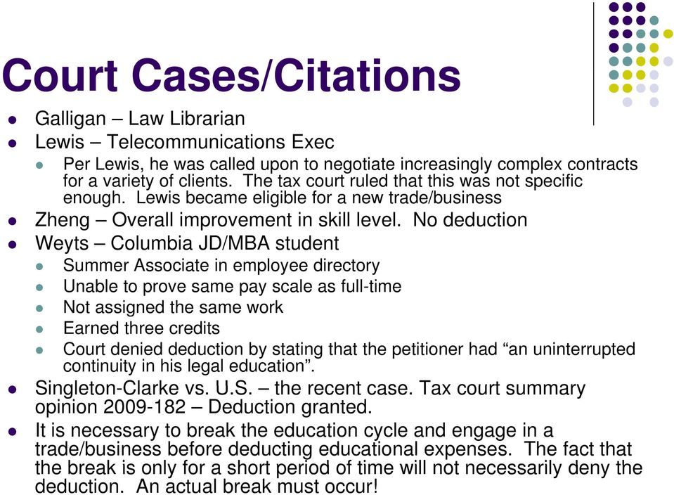 No deduction Weyts Columbia JD/MBA student Summer Associate in employee directory Unable to prove same pay scale as full-time Not assigned the same work Earned three credits Court denied deduction by