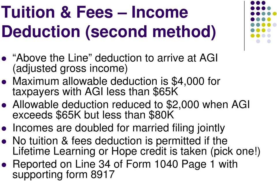 exceeds $65K but less than $80K Incomes are doubled d for married filing jointly No tuition & fees deduction is permitted
