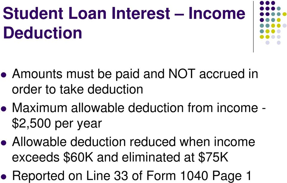 income - $2,500 per year Allowable deduction reduced when income