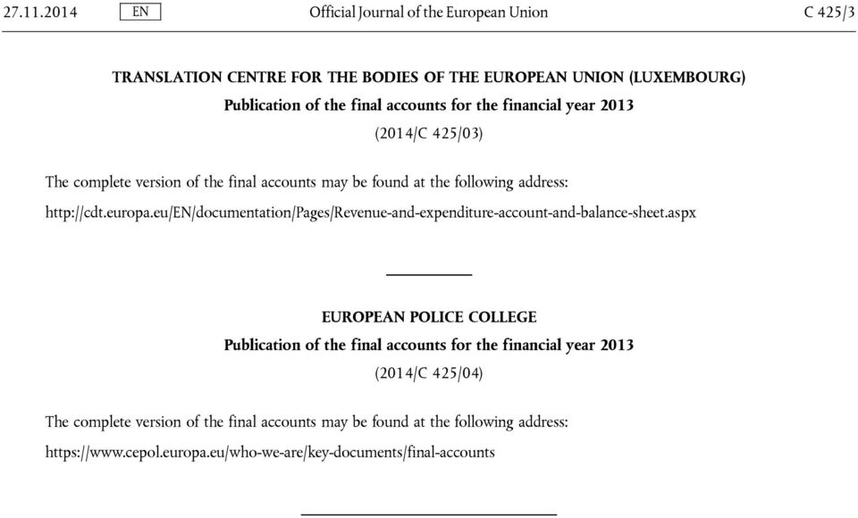 for the financial year 2013 (2014/C 425/03) The complete version of the final accounts may be found at the following address: http://cdt.europa.