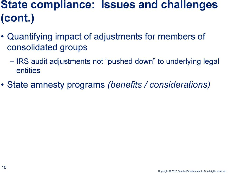 consolidated groups IRS audit adjustments not pushed down