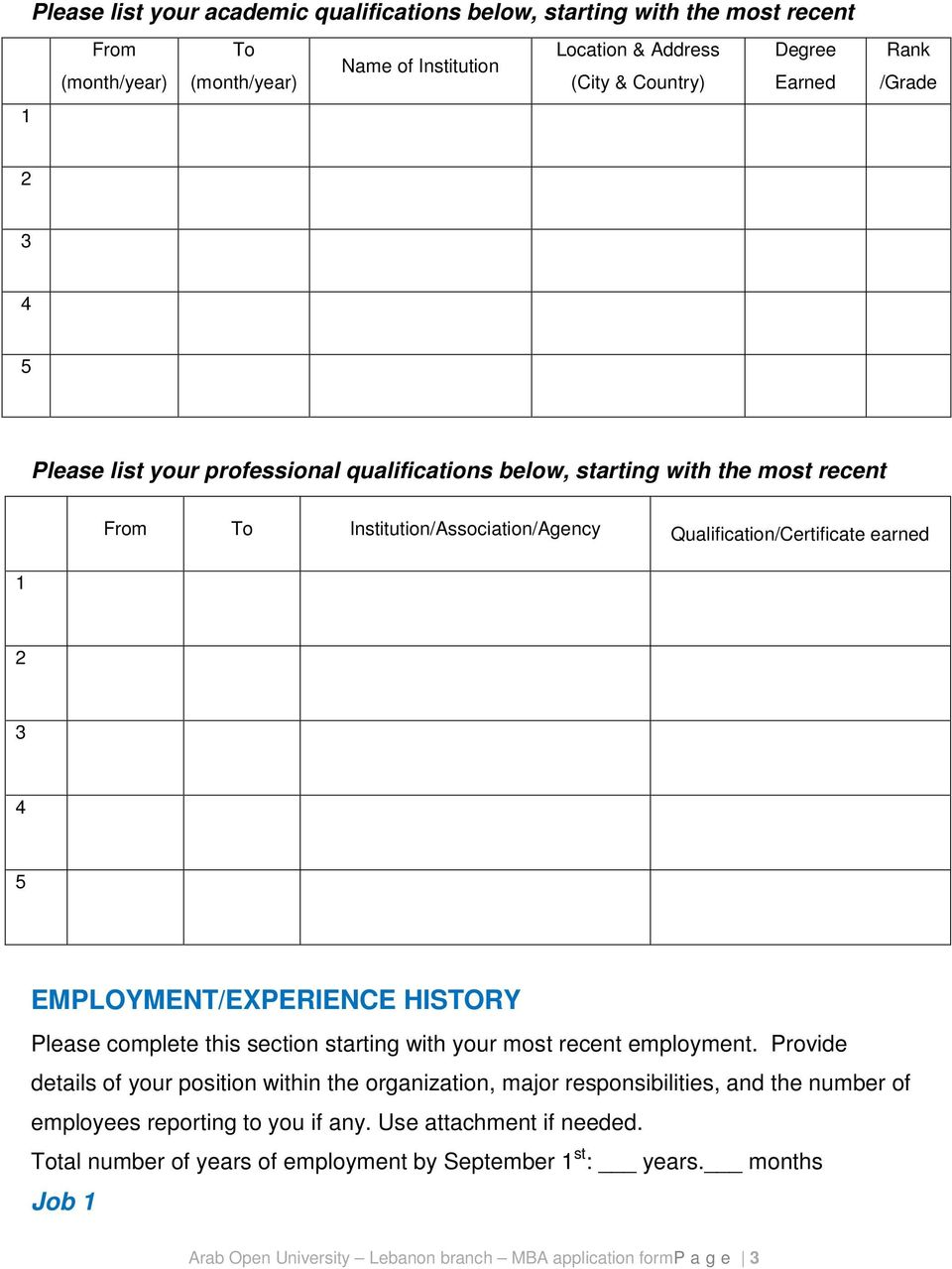 EMPLOYMENT/EXPERIENCE HISTORY Please complete this section starting with your most recent employment.