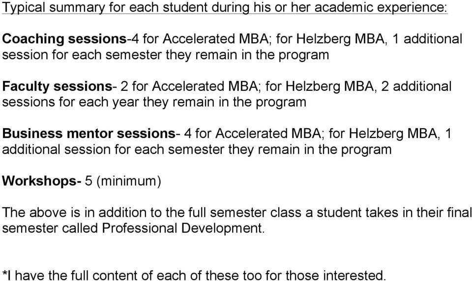 mentor sessions- 4 for Accelerated MBA; for Helzberg MBA, 1 additional session for each semester they remain in the program Workshops- 5 (minimum) The above is in