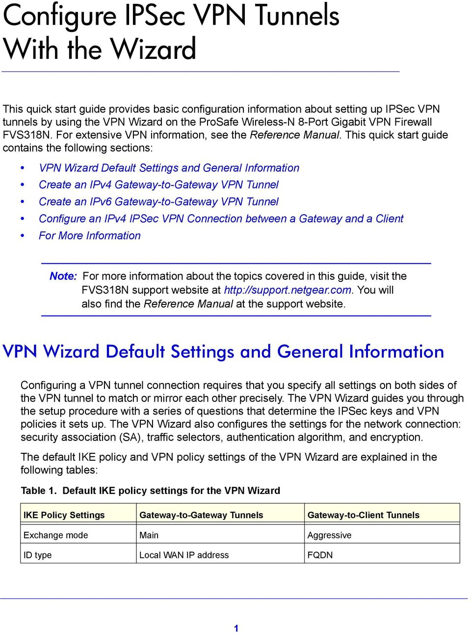 This quick start guide contains the following sections: VPN Wizard Default Settings and General Information Create an IPv4 Gateway-to-Gateway VPN Tunnel Create an IPv6 Gateway-to-Gateway VPN Tunnel