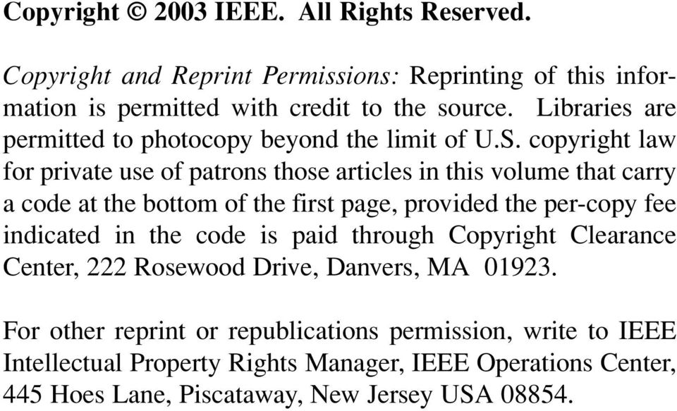 copyright law for private use of patrons those articles in this volume that carry a code at the bottom of the first page, provided the per-copy fee indicated