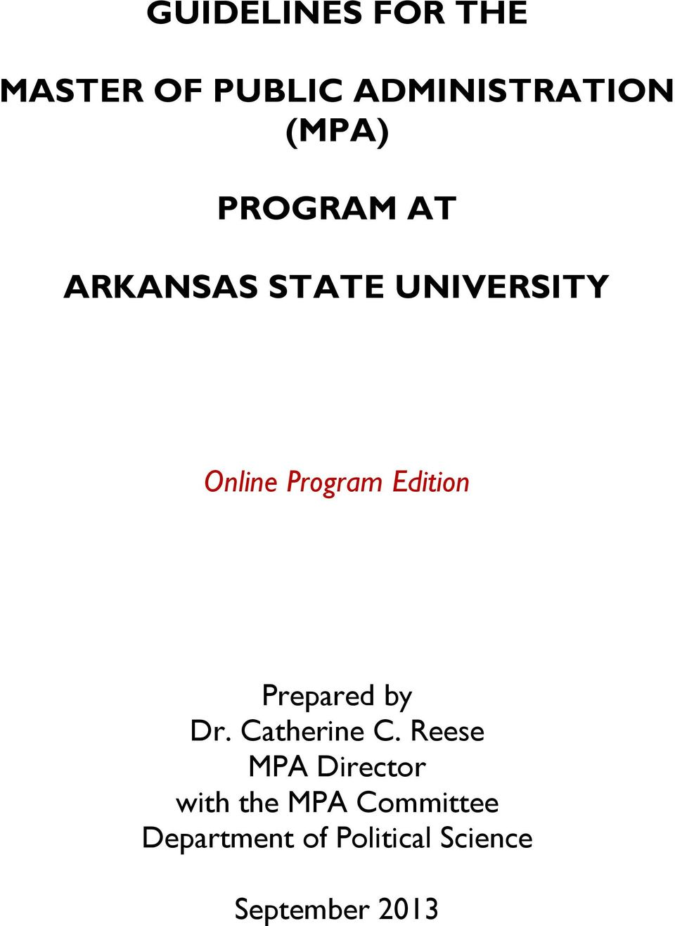 Edition Prepared by Dr. Catherine C.