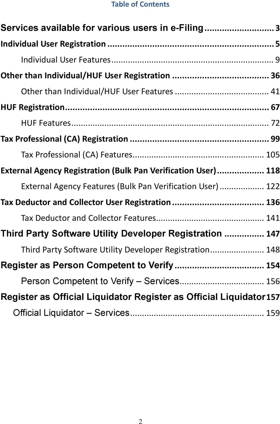 .. 105 External Agency Registration (Bulk Pan Verification User)... 118 External Agency Features (Bulk Pan Verification User)... 122 Tax Deductor and Collector User Registration.