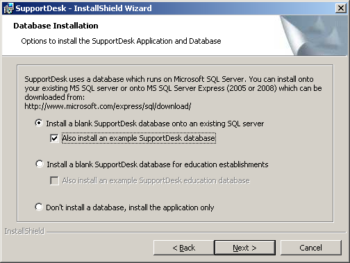 5. On the Database Installation screen you are presented with the following options.
