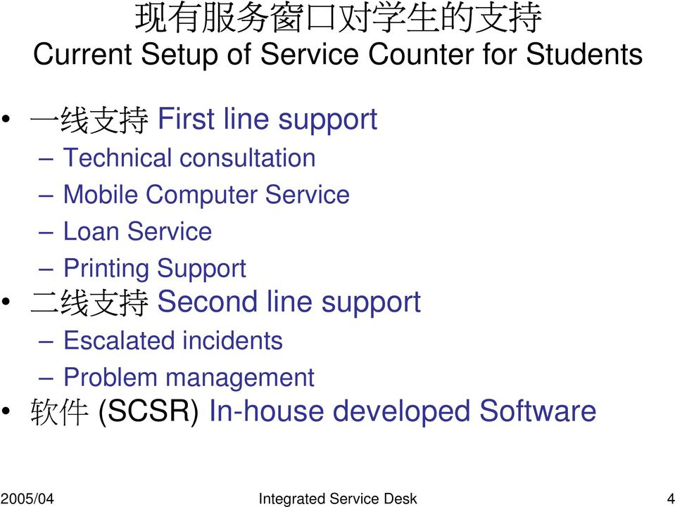 Printing Support 二 线 支 持 Second line support Escalated incidents Problem