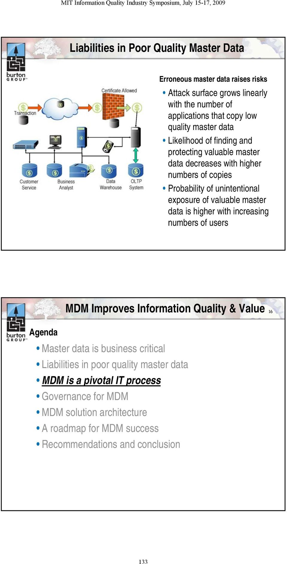 of valuable master data is higher with increasing numbers of users MDM Improves Information Quality & Value 16 Agenda Master data is business critical