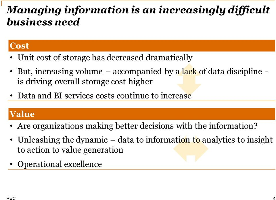higher Data and BI services costs continue to increase Value Are organizations making better decisions with the