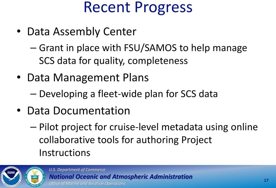 fleet-wide plan for SCS data Data Documentation Pilot project for