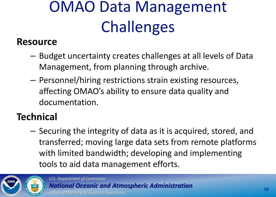 Personnel/hiring restrictions strain existing resources, affecting OMAO s ability to ensure data quality and documentation.
