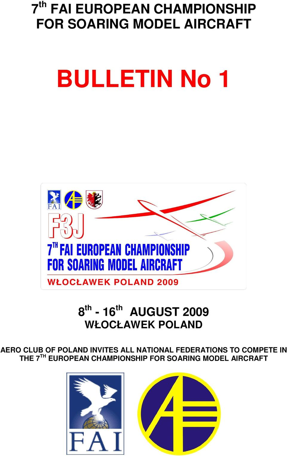 AERO CLUB OF POLAND INVITES ALL NATIONAL FEDERATIONS TO
