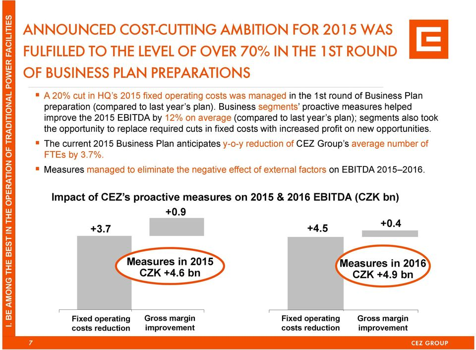 Business segments proactive measures helped improve the 2015 EBITDA by 12% on average (compared to last year s plan); segments also took the opportunity to replace required cuts in fixed costs with