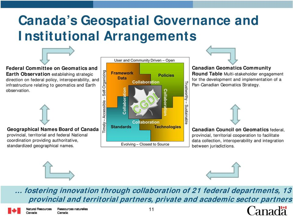 Canadian Geomatics Community Round Table Multi-stakeholder engagement for the development and implementation of a Pan-Canadian Geomatics Strategy.