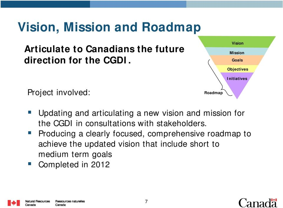 new vision and mission for the CGDI in consultations with stakeholders.
