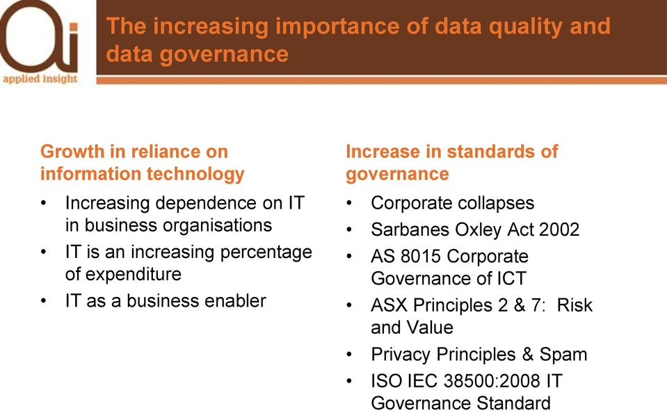 business enabler Increase in standards of governance Corporate collapses Sarbanes Oxley Act 2002 AS 8015