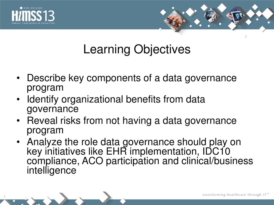 governance program Analyze the role data governance should play on key initiatives