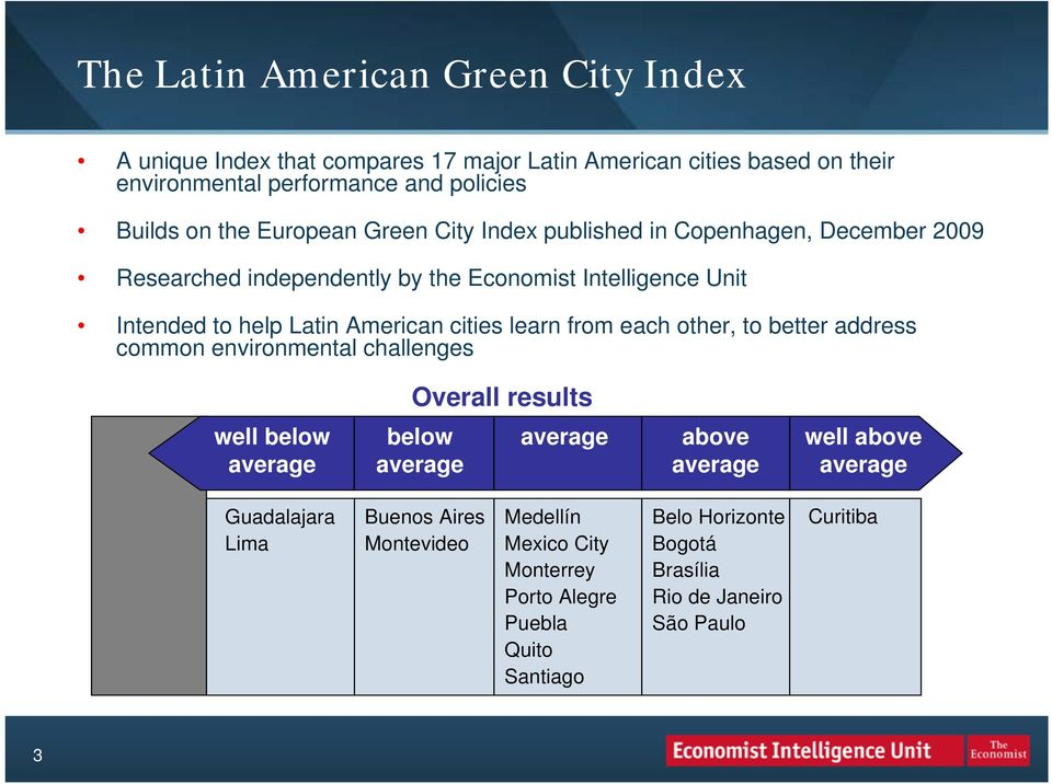 Latin American cities learn from each other, to better address common environmental challenges Overall results well below below above well above