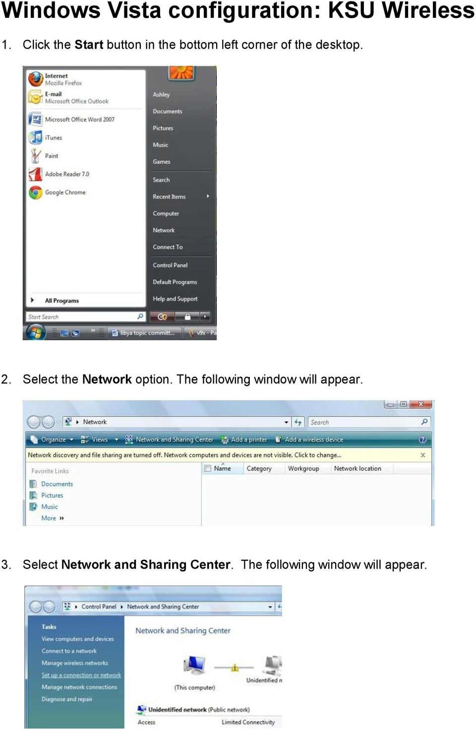 desktop. 2. Select the Network option.