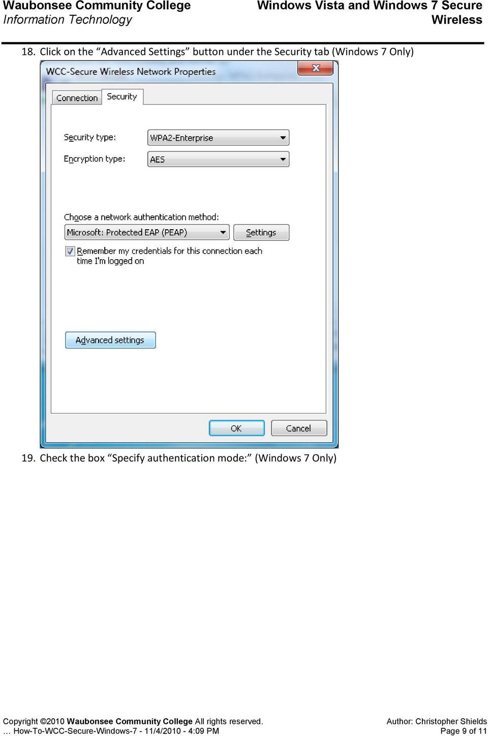 Check the box Specify authentication mode: