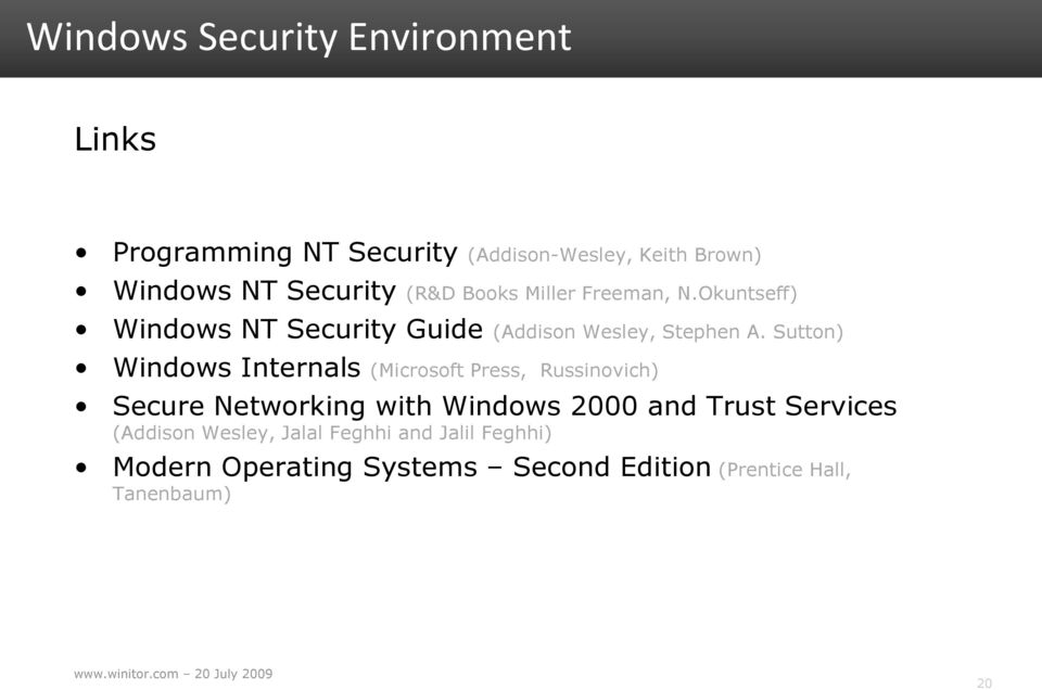 Sutton) Windows Internals (Microsoft Press, Russinovich) Secure Networking with Windows 2000 and