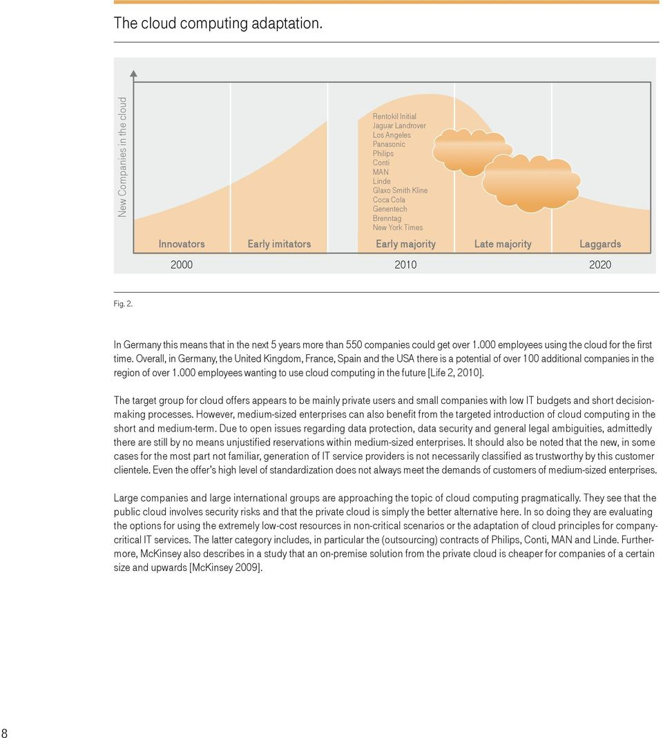 Early majority Late majority Laggards 2000 2010 2020 Fig. 2. In Germany this means that in the next 5 years more than 550 companies could get over 1.000 employees using the cloud for the first time.