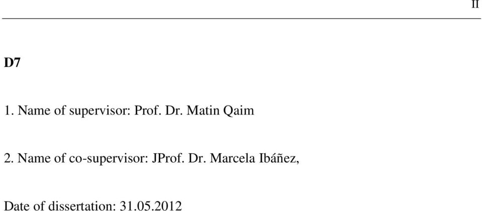 Name of co-supervisor: JProf. Dr.