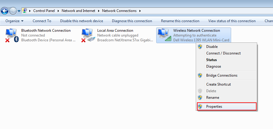 3 4. Verify that the wireless card is detected by Windows 7. If detected you should see a wireless network connection icon similar to the picture below.