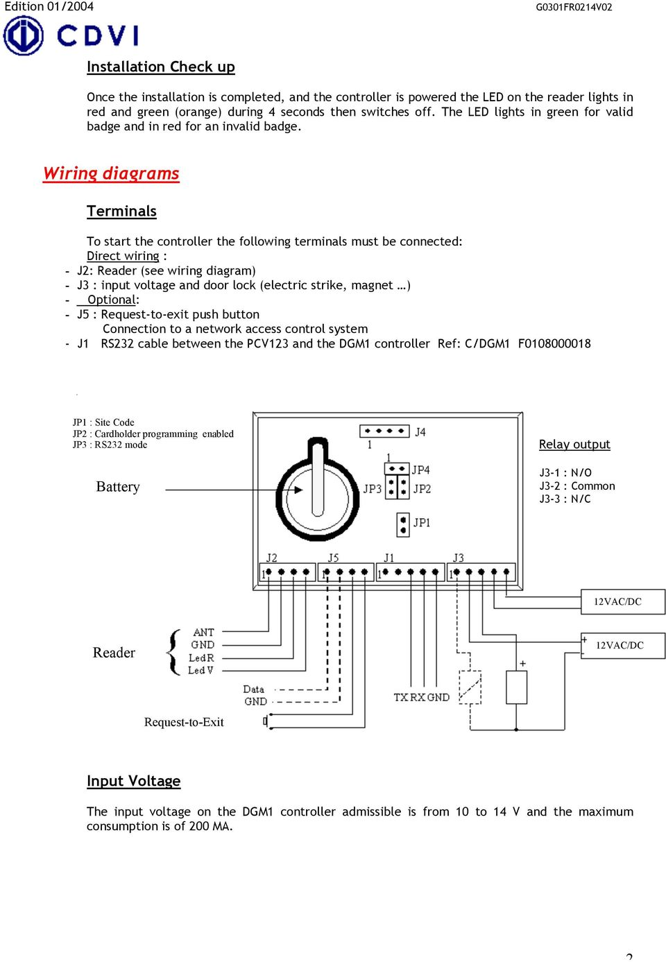 Wiring diagrams Terminals To start the controller the following terminals must be connected: Direct wiring : - J: (see wiring diagram) - J3 : input voltage and door lock (electric strike, magnet ) -
