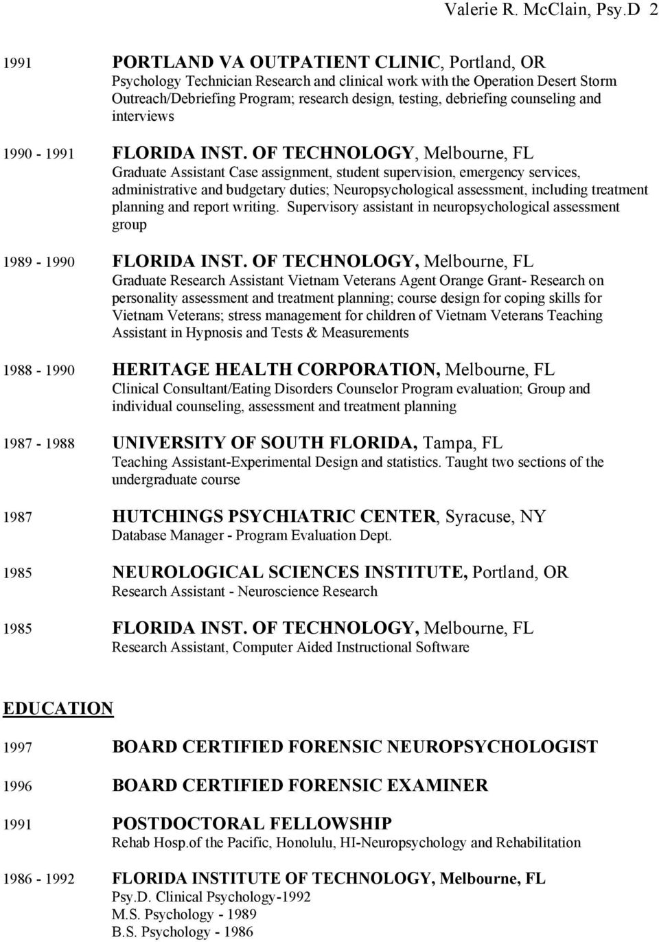 counseling and interviews 1990-1991 FLORIDA INST.