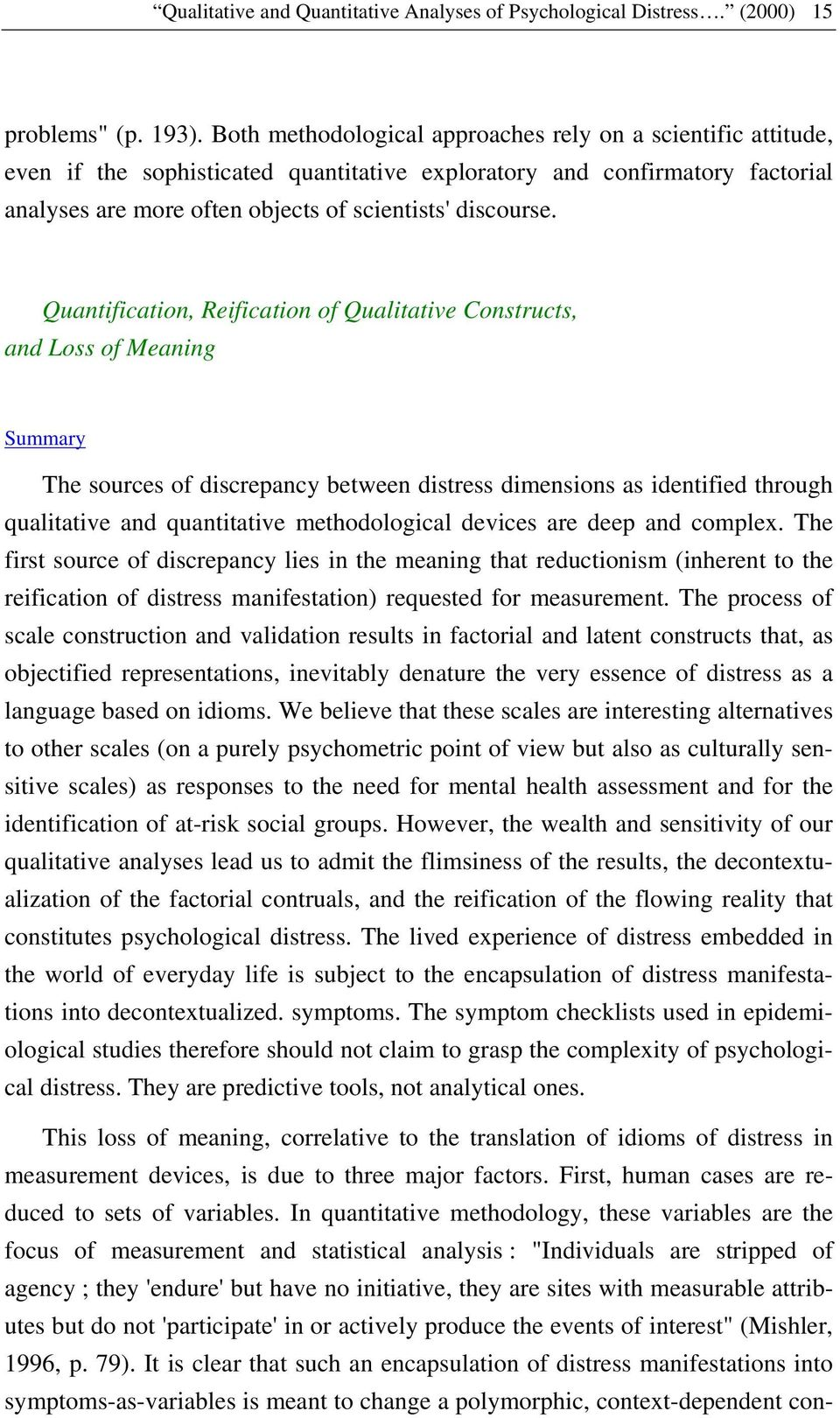 Quantification, Reification of Qualitative Constructs, and Loss of Meaning The sources of discrepancy between distress dimensions as identified through qualitative and quantitative methodological