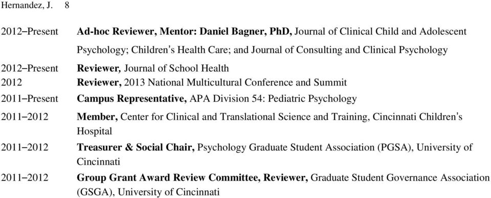 Psychology 2012 Present Reviewer, Journal of School Health 2012 Reviewer, 2013 National Multicultural Conference and Summit 2011 Present Campus Representative, APA Division 54: