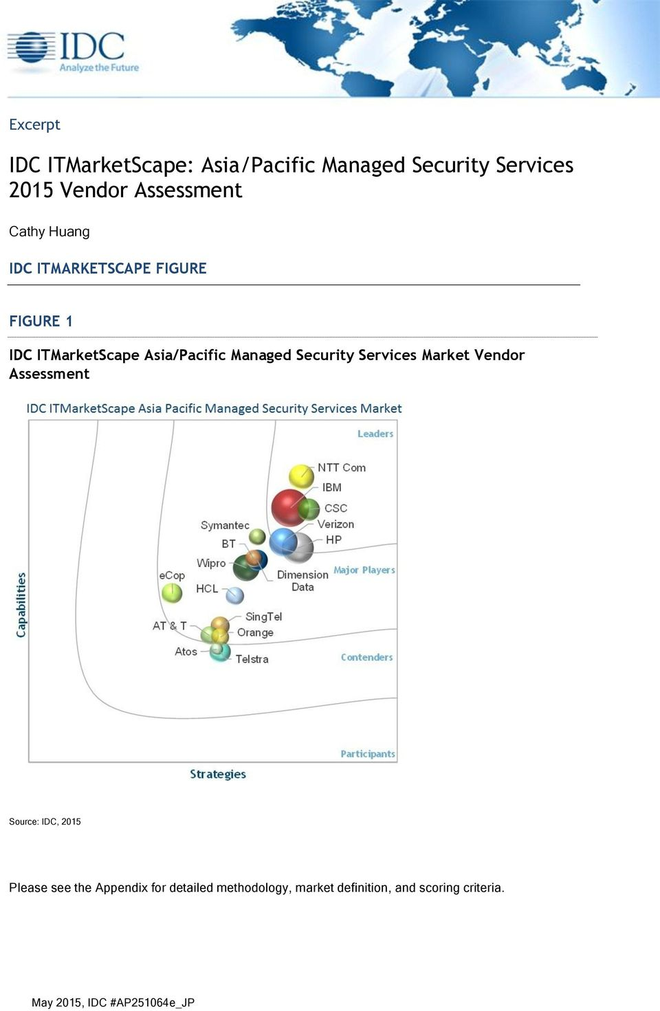 Security Services Market Vendor Assessment Source: IDC, 2015 Please see the Appendix for