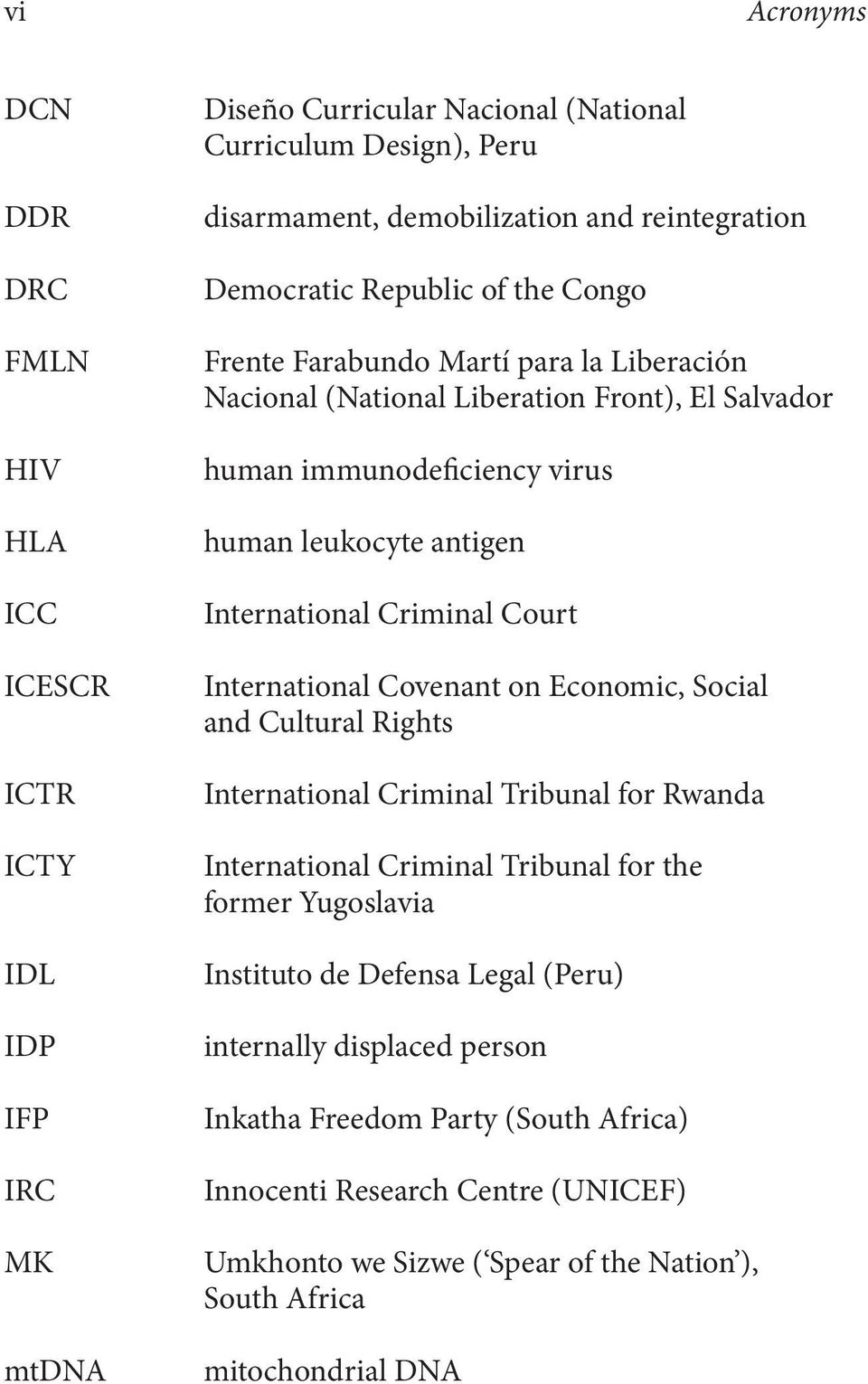 Criminal Court International Covenant on Economic, Social and Cultural Rights International Criminal Tribunal for Rwanda International Criminal Tribunal for the former Yugoslavia Instituto de