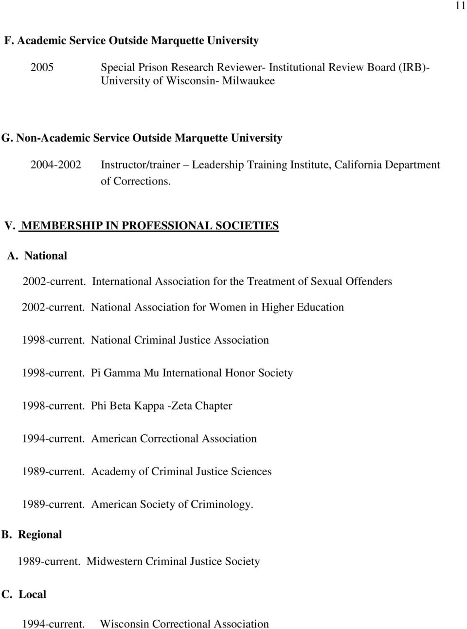 National 2002-current. International Association for the Treatment of Sexual Offenders 2002-current. National Association for Women in Higher Education 1998-current.