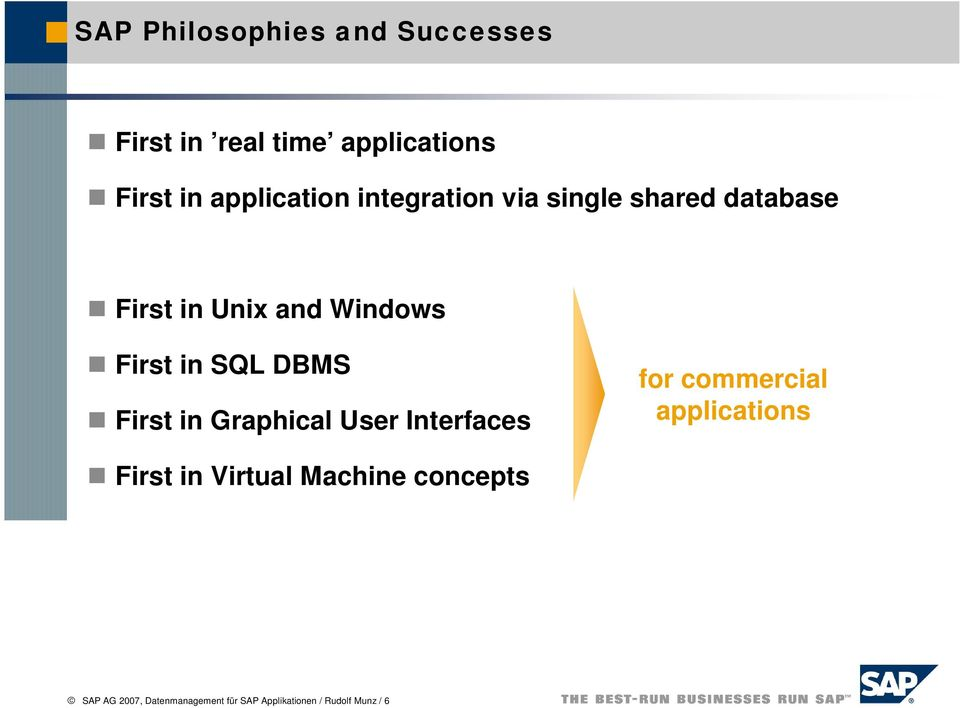 in SQL DBMS First in Graphical User Interfaces for commercial applications First