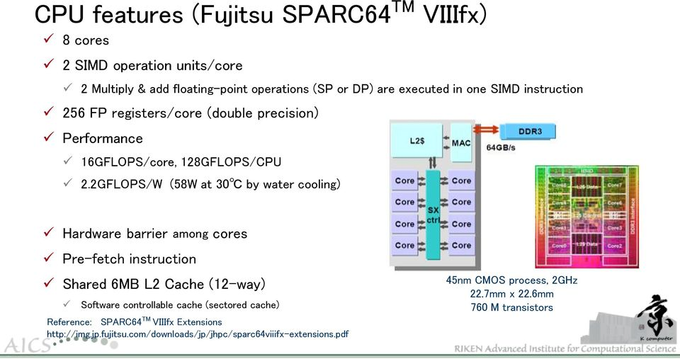 2GFLOPS/W (58W at 30 by water cooling) Hardware barrier among cores Pre-fetch instruction Shared 6MB L2 Cache (12-way) Software controllable cache