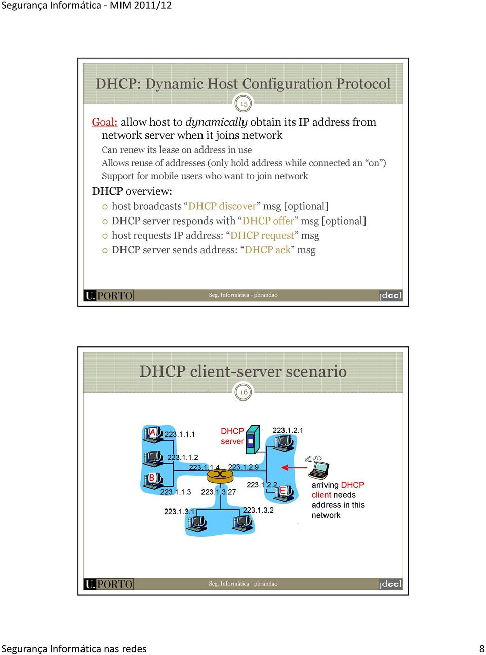 DHCP server responds with DHCP offer msg [optional] host requests IP address: DHCP request msg DHCP server sends address: DHCP ack msg DHCP client-server scenario 16