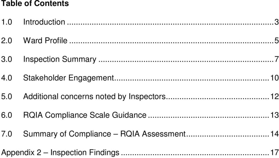 0 Additional concerns noted by Inspectors... 12 6.