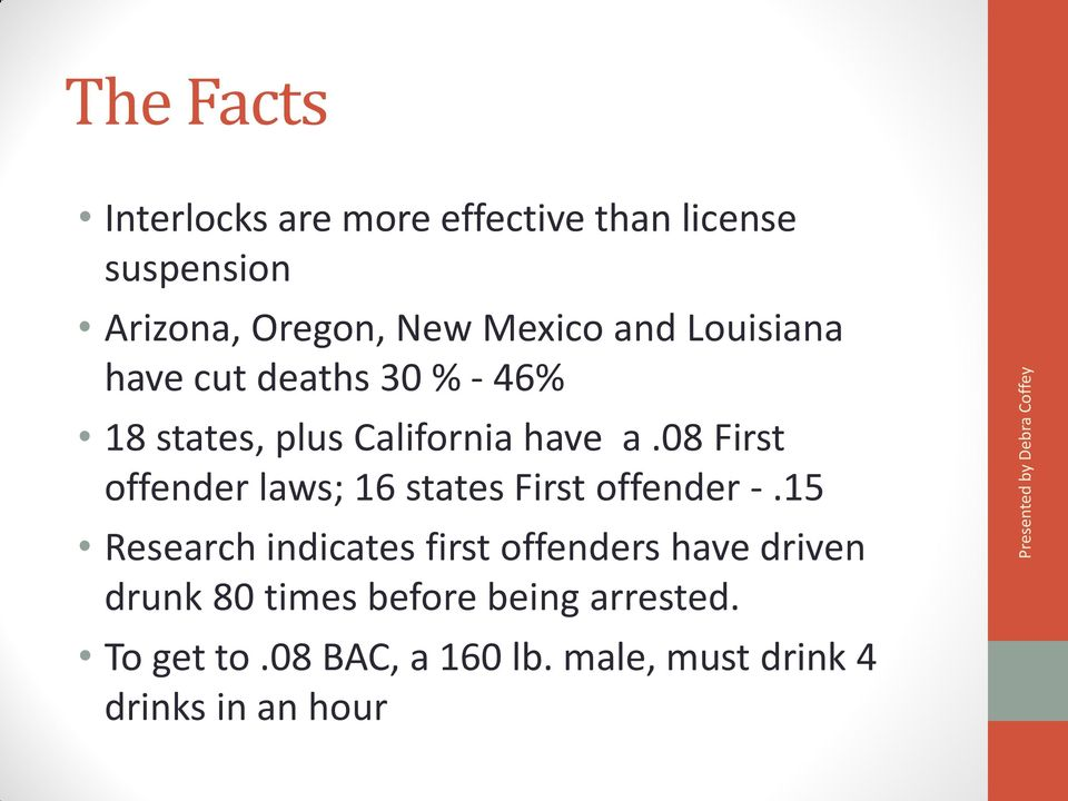 08 First offender laws; 16 states First offender -.