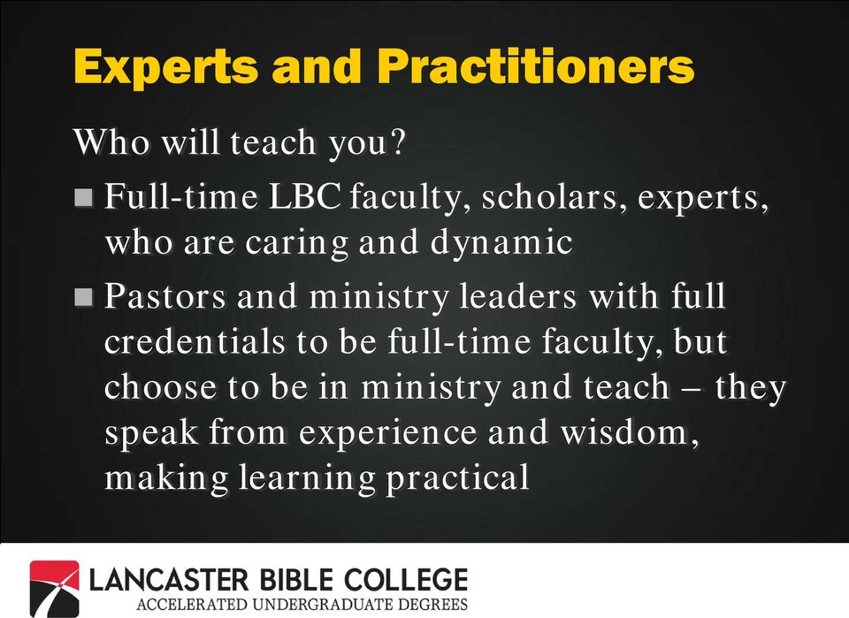 Pastors and ministry leaders with full credentials to be full-time