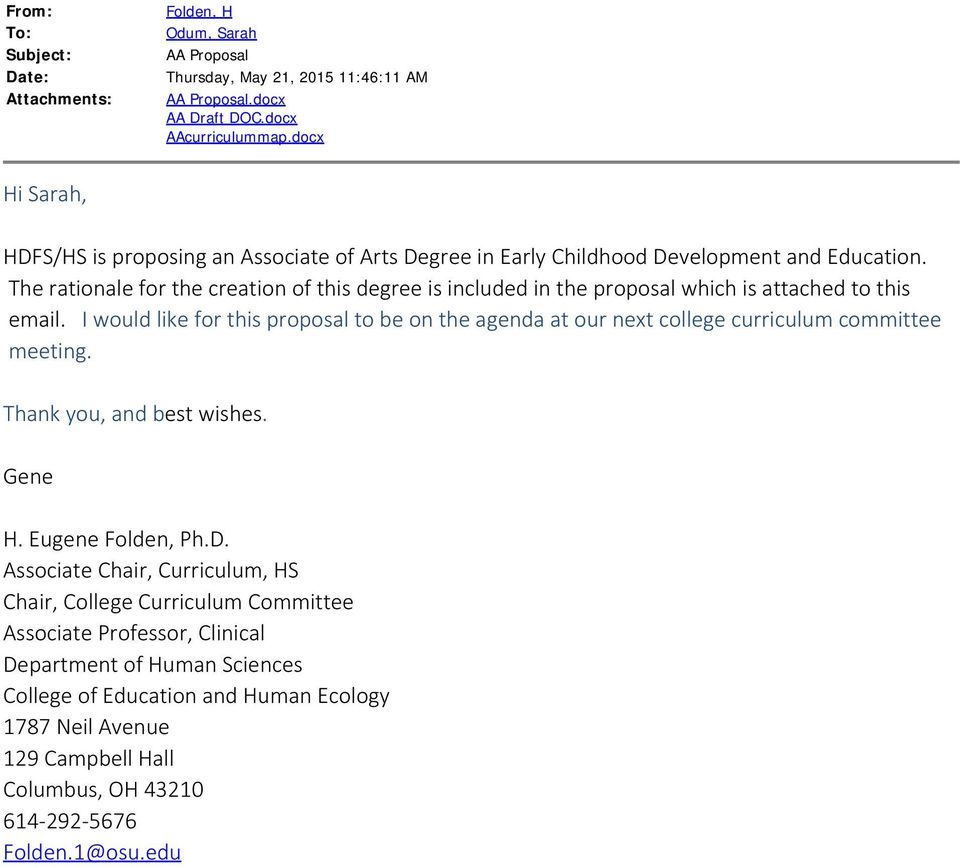 The rationale for the creation of this degree is included in the proposal which is attached to this email.
