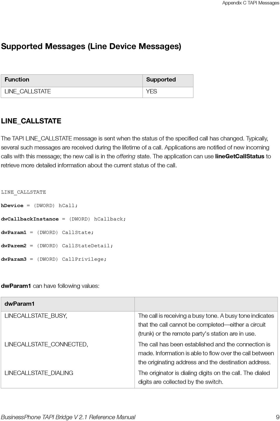 The application can use linegetcallstatus to retrieve more detailed information about the current status of the call.