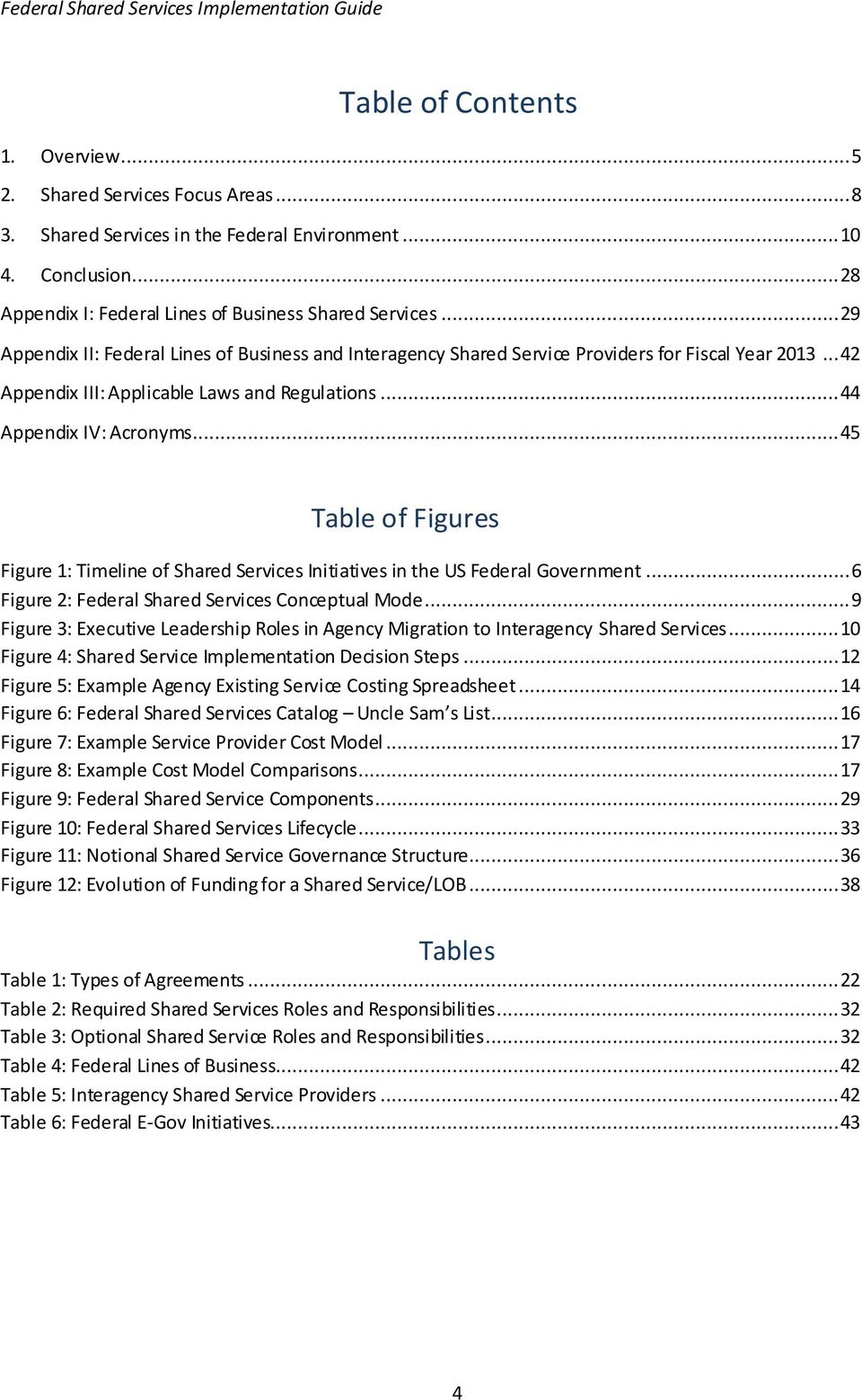 .. 45 Table of Figures Figure 1: Timeline of Shared Services Initiatives in the US Federal Government... 6 Figure 2: Federal Shared Services Conceptual Mode.