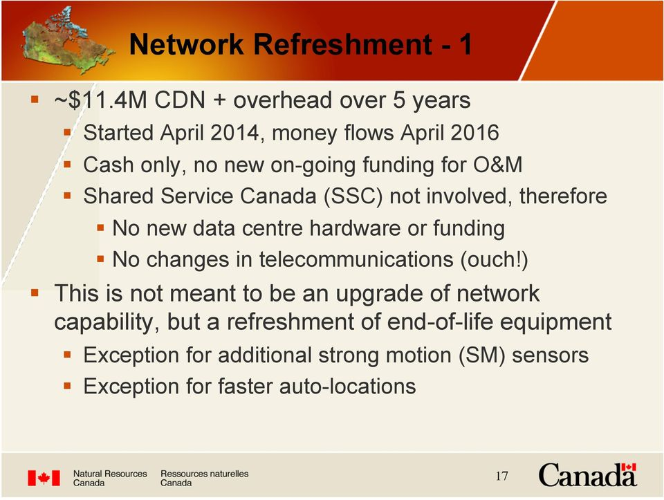No new data centre hardware or funding! No changes in telecommunications (ouch!)!