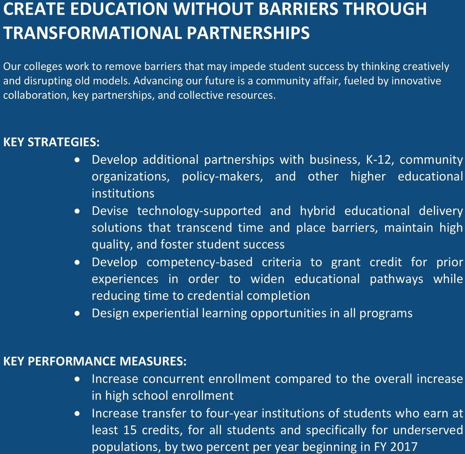 KEY STRATEGIES: Develop additional partnerships with business, K 12, community organizations, policy makers, and other higher educational institutions Devise technology supported and hybrid