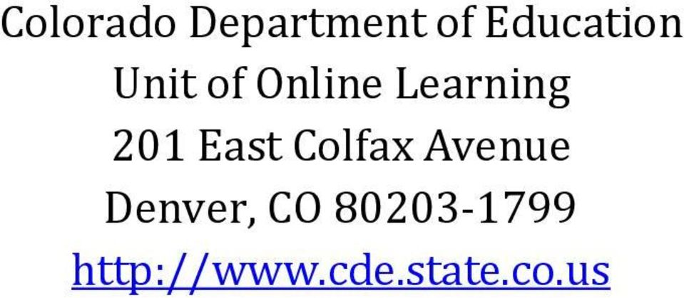 Learning 201 East Colfax Avenue